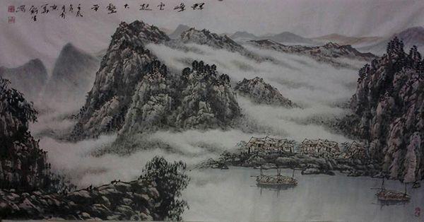 群峰云起大壑平(136X68))